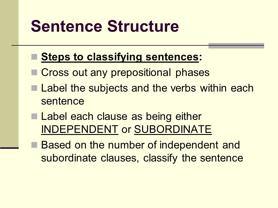 Sentence Structure Steps to classifying sentences: Cross out any prepositional phases Label the subjects and the verbs within each sentence Label each clause as being either INDEPENDENT or SUBORDINATE Based on the number of independent and subordinate clauses, classify the sentence
