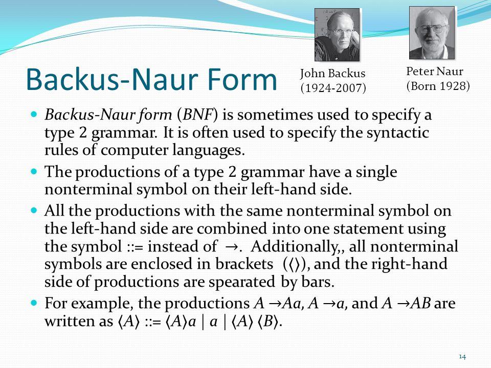 Backus-Naur Form Backus-Naur form (BNF) is sometimes used to specify a type 2 grammar.