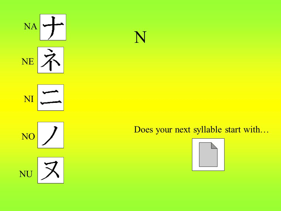 N Does your next syllable start with… NA NE NU NI NO