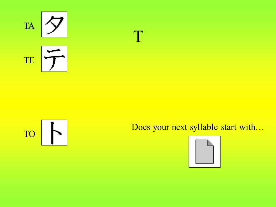 T Does your next syllable start with… TA TE TO
