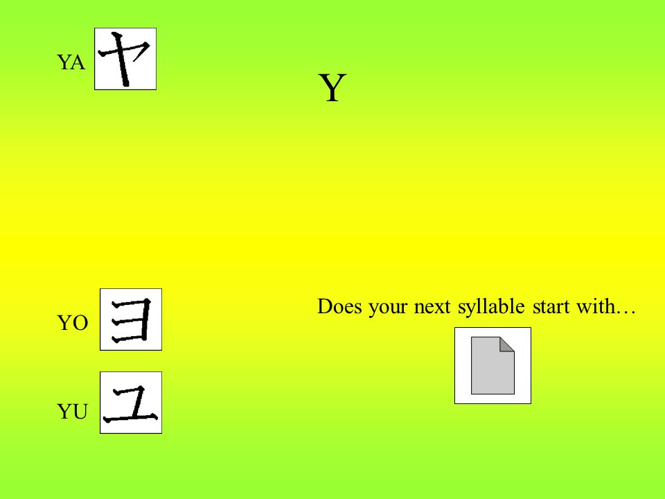 Y Does your next syllable start with… YA YU YO