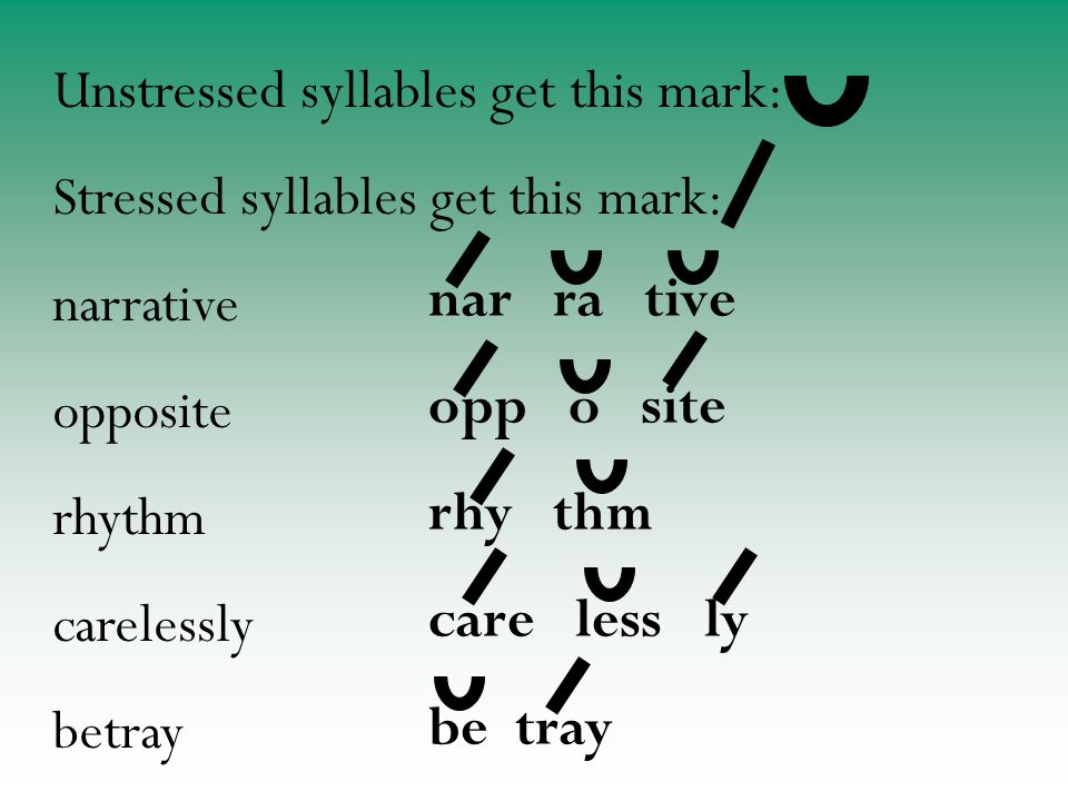 nar ra tive opp o site rhy thm care less ly be tray Unstressed syllables get this mark: Stressed syllables get this mark: narrative opposite rhythm carelessly betray