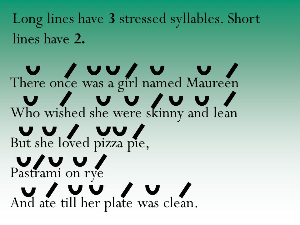 There once was a girl named Maureen Who wished she were skinny and lean But she loved pizza pie, Pastrami on rye And ate till her plate was clean.