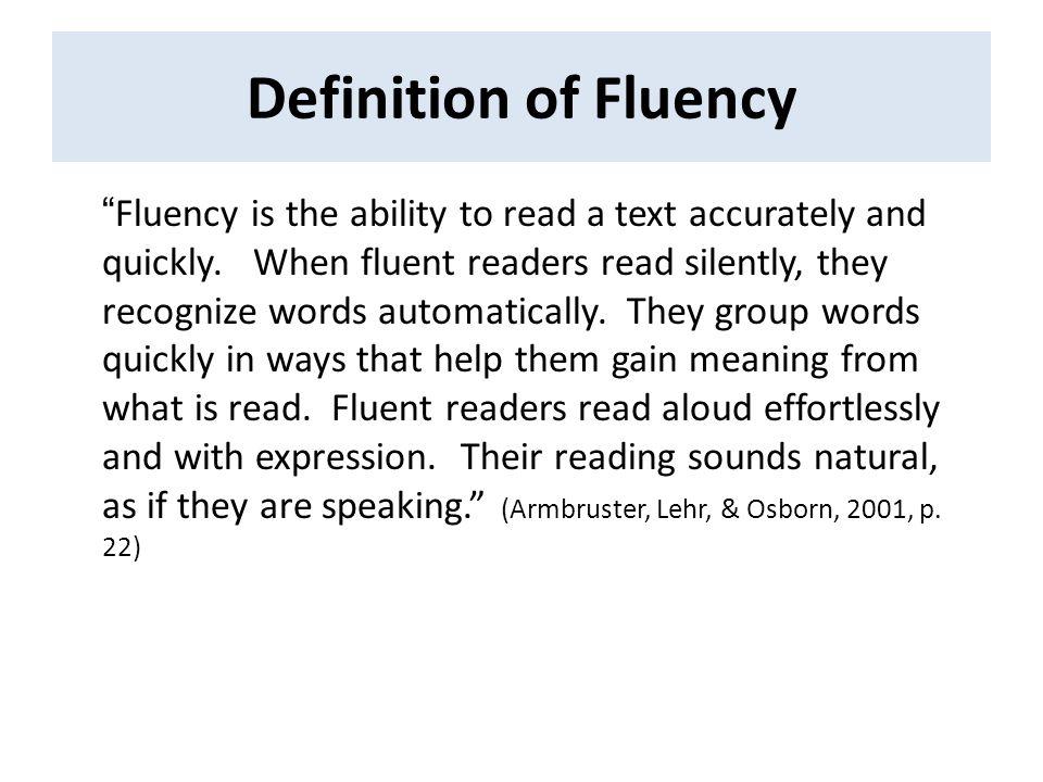 8 Definition Of Fluency U201c ...