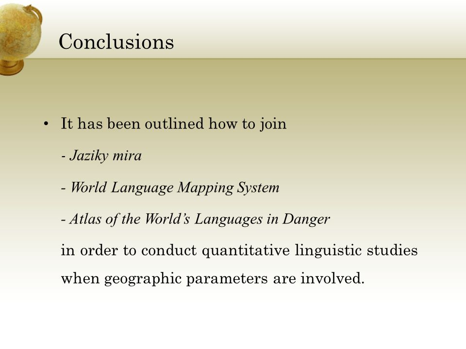 A NALYZING THE LOCALIZATION OF LANGUAGE FEATURES WITH C OMPLEX S - World language mapping system
