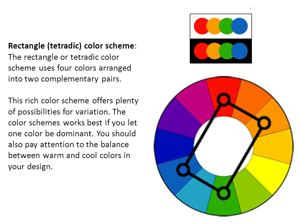 Rectangle Tetradic Color Scheme The Or Uses Four Colors