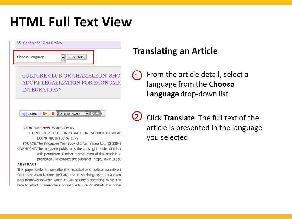 Translating an Article Click Translate.