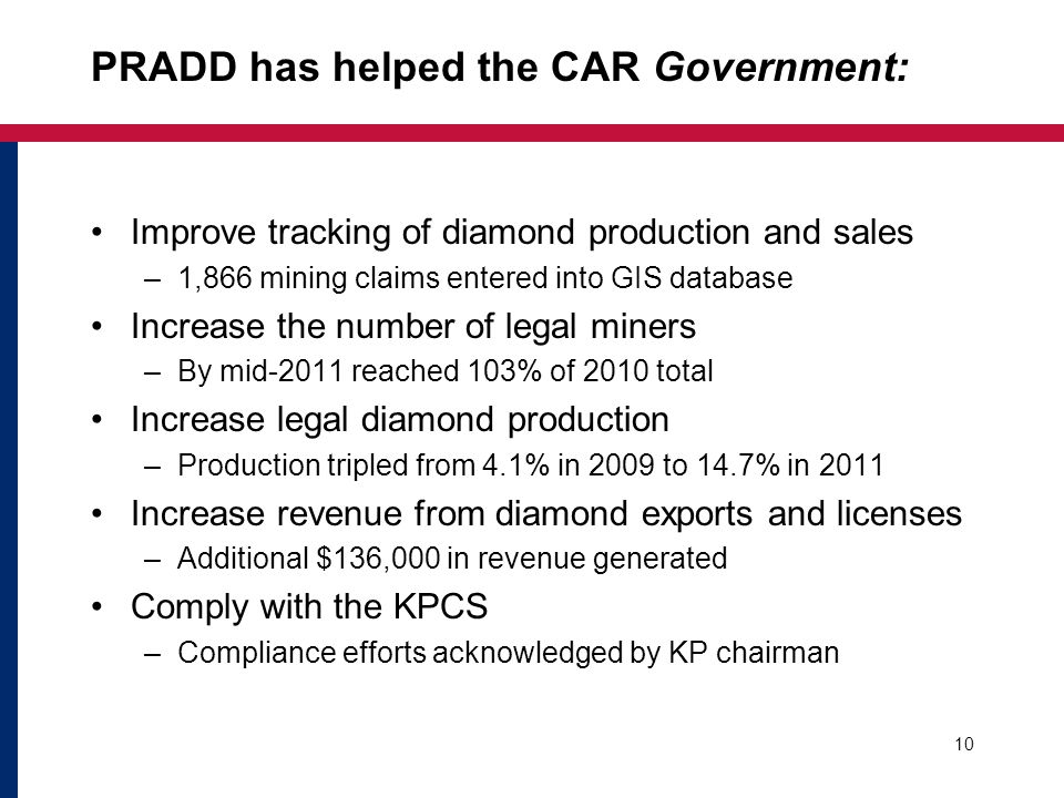 PRADD has helped the CAR Government: Improve tracking of diamond production and sales –1,866 mining claims entered into GIS database Increase the number of legal miners –By mid-2011 reached 103% of 2010 total Increase legal diamond production –Production tripled from 4.1% in 2009 to 14.7% in 2011 Increase revenue from diamond exports and licenses –Additional $136,000 in revenue generated Comply with the KPCS –Compliance efforts acknowledged by KP chairman 10