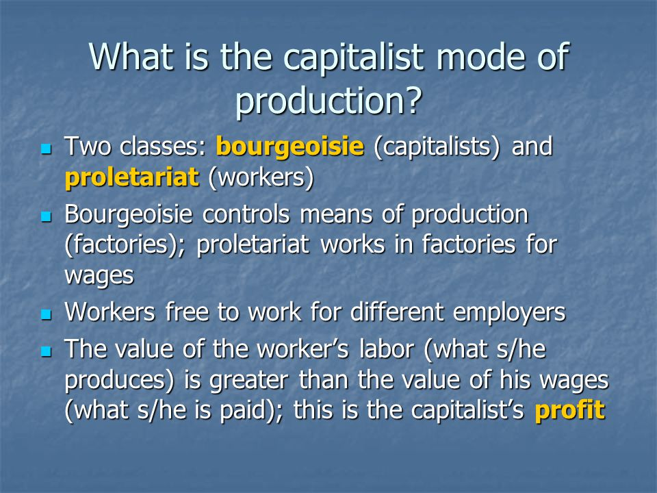 What is the capitalist mode of production.