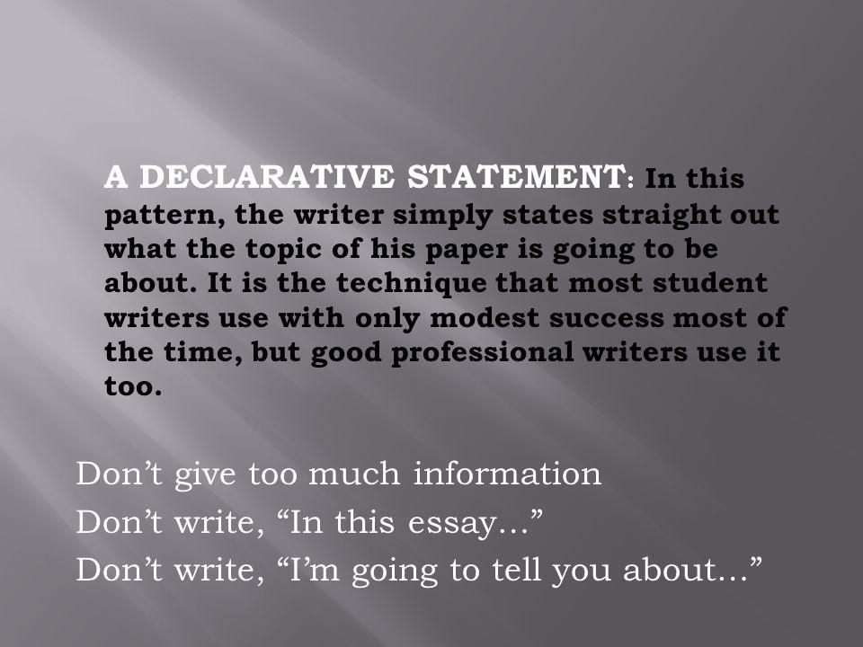simple declarative essay