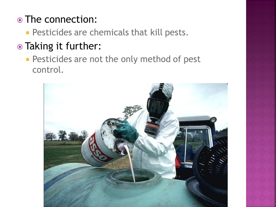  The connection:  Pesticides are chemicals that kill pests.