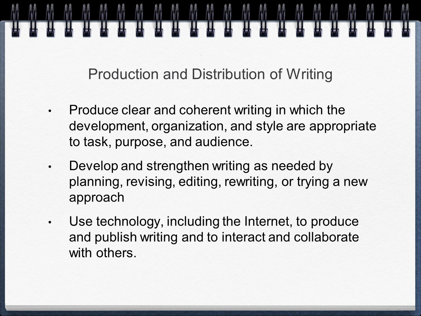 Production and Distribution of Writing Produce clear and coherent writing in which the development, organization, and style are appropriate to task, purpose, and audience.