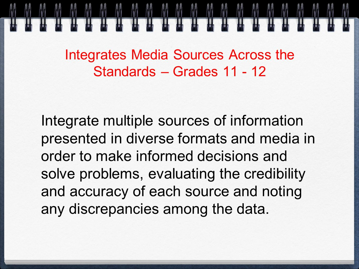 Integrates Media Sources Across the Standards – Grades Integrate multiple sources of information presented in diverse formats and media in order to make informed decisions and solve problems, evaluating the credibility and accuracy of each source and noting any discrepancies among the data.