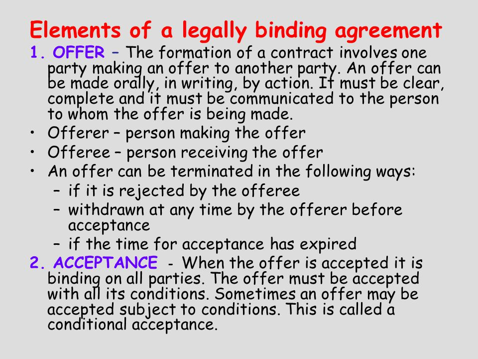 Chap 2 conflict in the market place the law of contract has been elements of a legally binding agreement 1 platinumwayz