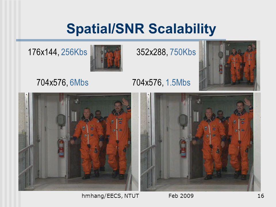 Spatial/SNR Scalability 176x144, 256Kbs352x288, 750Kbs 704x576, 1.5Mbs704x576, 6Mbs Feb 200916hmhang/EECS, NTUT