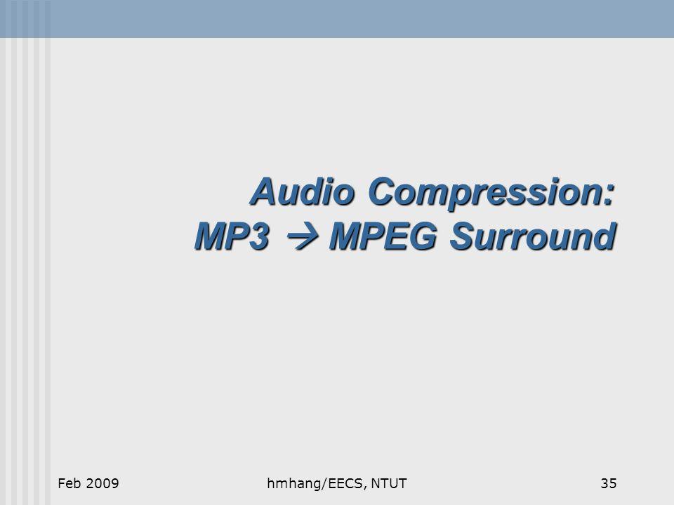 Audio Compression: MP3  MPEG Surround Feb 200935hmhang/EECS, NTUT