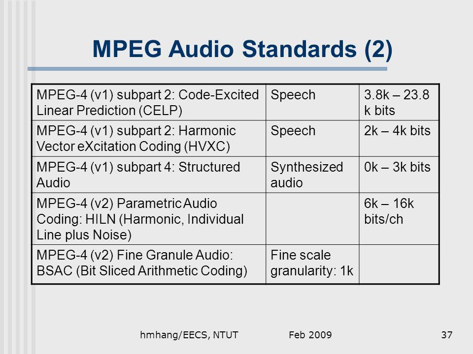 MPEG Audio Standards (2) MPEG-4 (v1) subpart 2: Code-Excited Linear Prediction (CELP) Speech3.8k – 23.8 k bits MPEG-4 (v1) subpart 2: Harmonic Vector eXcitation Coding (HVXC) Speech2k – 4k bits MPEG-4 (v1) subpart 4: Structured Audio Synthesized audio 0k – 3k bits MPEG-4 (v2) Parametric Audio Coding: HILN (Harmonic, Individual Line plus Noise) 6k – 16k bits/ch MPEG-4 (v2) Fine Granule Audio: BSAC (Bit Sliced Arithmetic Coding) Fine scale granularity: 1k Feb 200937hmhang/EECS, NTUT