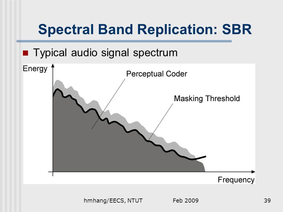 Spectral Band Replication: SBR Typical audio signal spectrum Feb 200939hmhang/EECS, NTUT