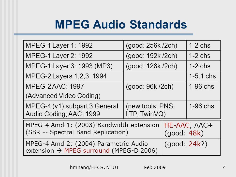 MPEG Audio Standards MPEG-1 Layer 1: 1992(good: 256k /2ch)1-2 chs MPEG-1 Layer 2: 1992(good: 192k /2ch)1-2 chs MPEG-1 Layer 3: 1993 (MP3)(good: 128k /2ch)1-2 chs MPEG-2 Layers 1,2,3: 19941-5.1 chs MPEG-2 AAC: 1997 (Advanced Video Coding) (good: 96k /2ch)1-96 chs MPEG-4 (v1) subpart 3 General Audio Coding, AAC: 1999 (new tools: PNS, LTP, TwinVQ) 1-96 chs MPEG-4 Amd 1: (2003) Bandwidth extension (SBR -- Spectral Band Replication) HE-AAC, AAC+ (good: 48k) MPEG-4 Amd 2: (2004) Parametric Audio extension  MPEG surround (MPEG-D 2006) (good: 24k ) Feb 20094hmhang/EECS, NTUT