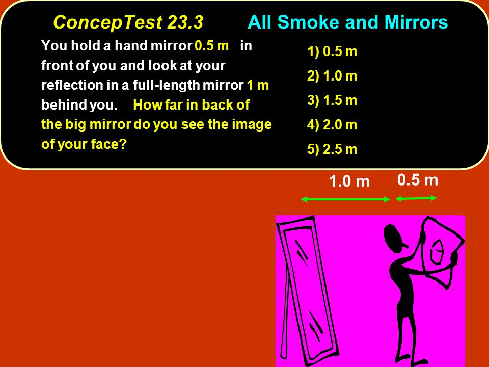 ConcepTest 23.3All Smoke and Mirrors 1.0 m 0.5 m 1) 0.5 m 2) 1.0 m 3) 1.5 m 4) 2.0 m 5) 2.5 m You hold a hand mirror 0.5 m in front of you and look at your reflection in a full-length mirror 1 m behind you.