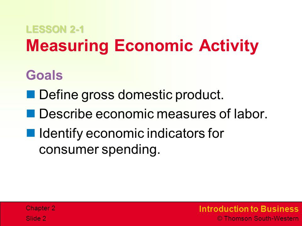 Introduction to Business © Thomson South-Western Chapter 2 Slide 2 LESSON 2-1 LESSON 2-1 Measuring Economic Activity Goals Define gross domestic product.
