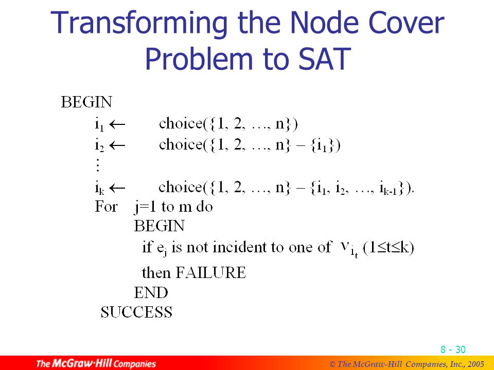 © The McGraw-Hill Companies, Inc., Transforming the Node Cover Problem to SAT