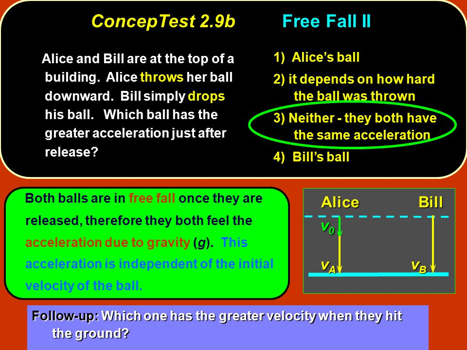 Both balls are in free fall once they are released, therefore they both feel the acceleration due to gravity (g).
