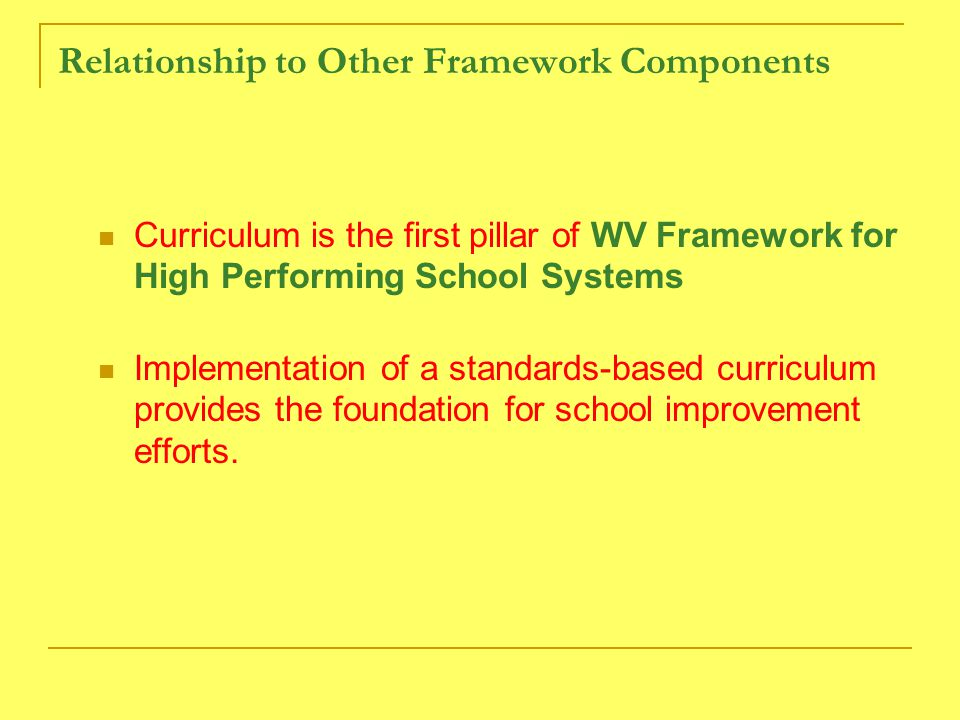 Relationship to Other Framework Components Curriculum is the first pillar of WV Framework for High Performing School Systems Implementation of a standards-based curriculum provides the foundation for school improvement efforts.