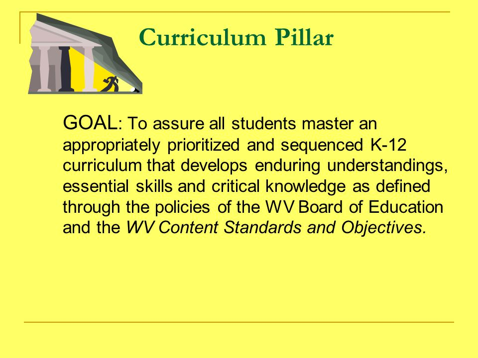 Curriculum Pillar GOAL : To assure all students master an appropriately prioritized and sequenced K-12 curriculum that develops enduring understandings, essential skills and critical knowledge as defined through the policies of the WV Board of Education and the WV Content Standards and Objectives.