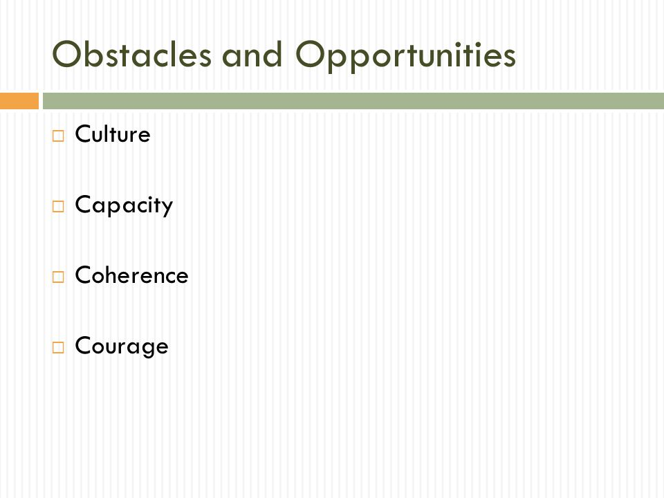 Obstacles and Opportunities  Culture  Capacity  Coherence  Courage