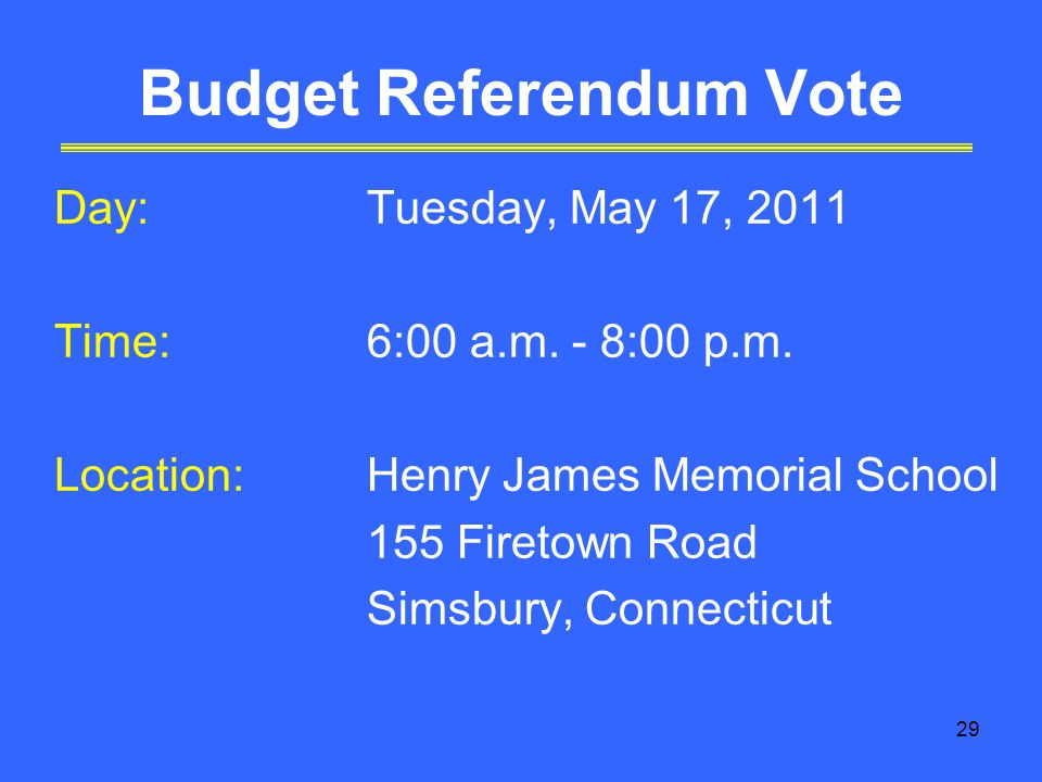29 Budget Referendum Vote Day:Tuesday, May 17, 2011 Time:6:00 a.m.