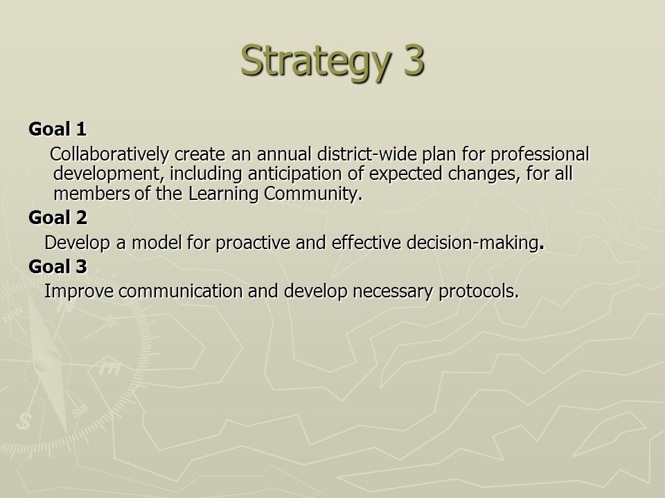 Strategy 3 Goal 1 Collaboratively create an annual district-wide plan for professional development, including anticipation of expected changes, for all members of the Learning Community.