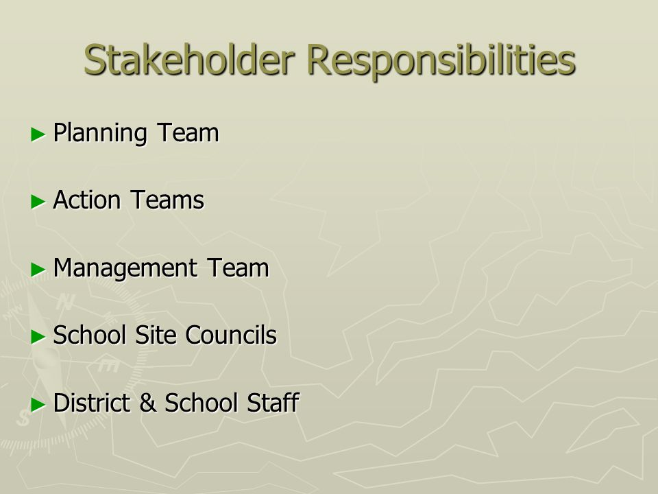 Stakeholder Responsibilities ► Planning Team ► Action Teams ► Management Team ► School Site Councils ► District & School Staff