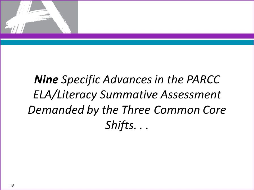 Nine Specific Advances in the PARCC ELA/Literacy Summative Assessment Demanded by the Three Common Core Shifts...