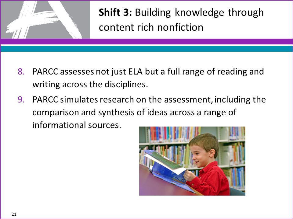 8.PARCC assesses not just ELA but a full range of reading and writing across the disciplines.
