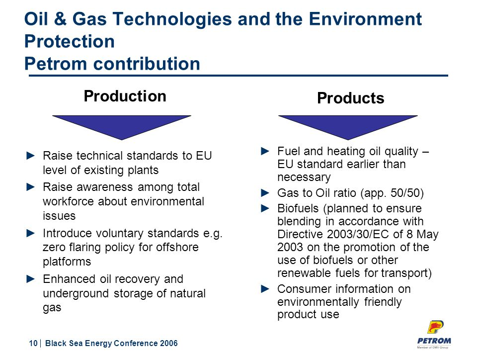 10 Black Sea Energy Conference 2006 Products ►Fuel and heating oil quality – EU standard earlier than necessary ►Gas to Oil ratio (app.