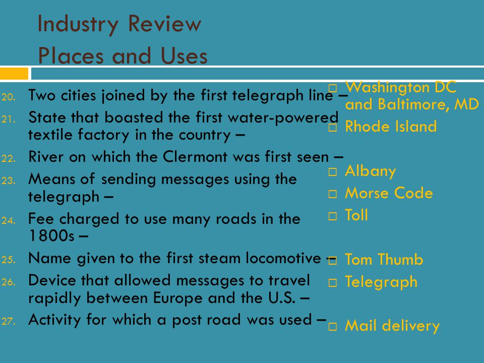 Industry Review Places and Uses 20. Two cities joined by the first telegraph line – 21.