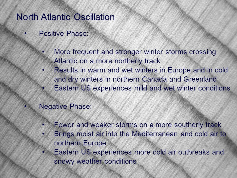 Positive Phase: More frequent and stronger winter storms crossing Atlantic on a more northerly track Results in warm and wet winters in Europe and in cold and dry winters in northern Canada and Greenland Eastern US experiences mild and wet winter conditions Negative Phase: Fewer and weaker storms on a more southerly track Brings moist air into the Mediterranean and cold air to northern Europe Eastern US experiences more cold air outbreaks and snowy weather conditions North Atlantic Oscillation