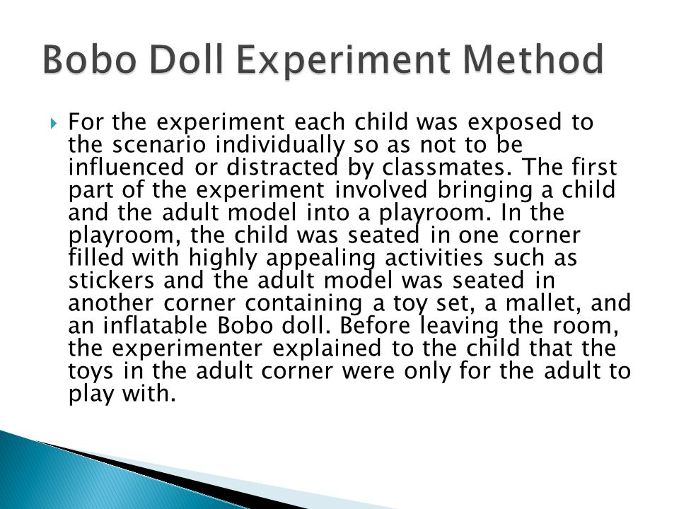  For the experiment each child was exposed to the scenario individually so as not to be influenced or distracted by classmates.