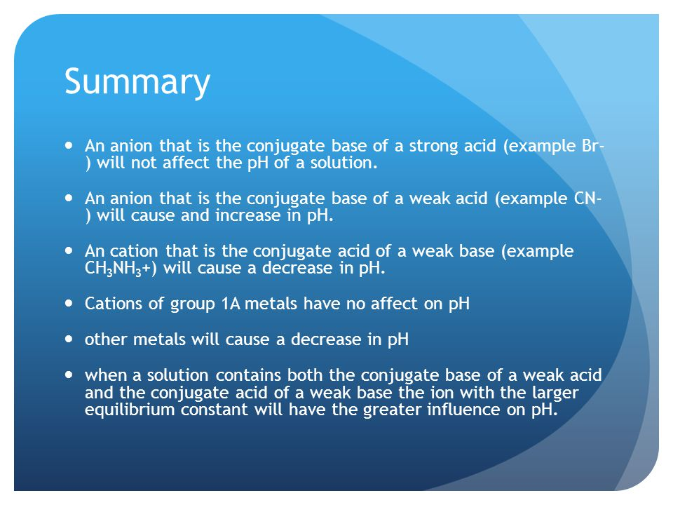 Summary An anion that is the conjugate base of a strong acid (example Br- ) will not affect the pH of a solution.
