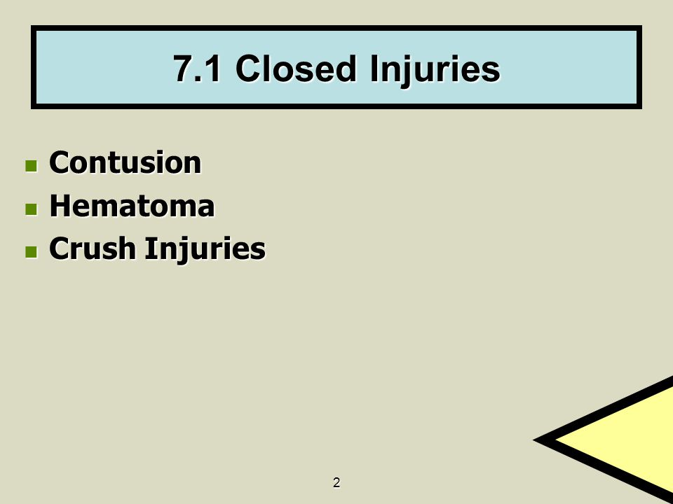 2 7.1 Closed Injuries Contusion Contusion Hematoma Hematoma Crush Injuries Crush Injuries