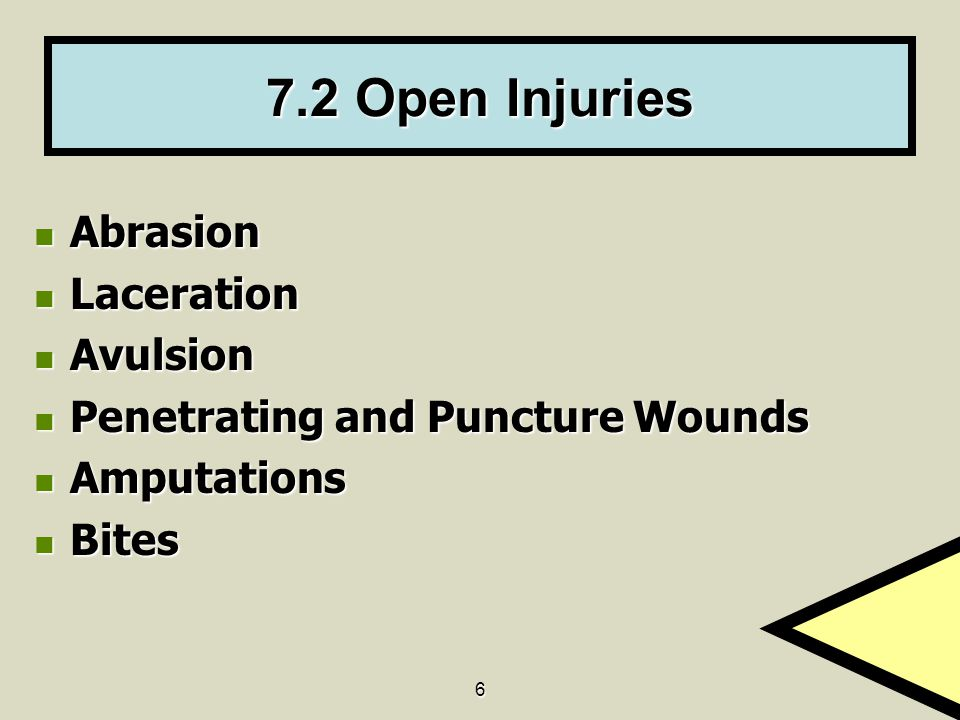 6 7.2 Open Injuries Abrasion Abrasion Laceration Laceration Avulsion Avulsion Penetrating and Puncture Wounds Penetrating and Puncture Wounds Amputations Amputations Bites Bites