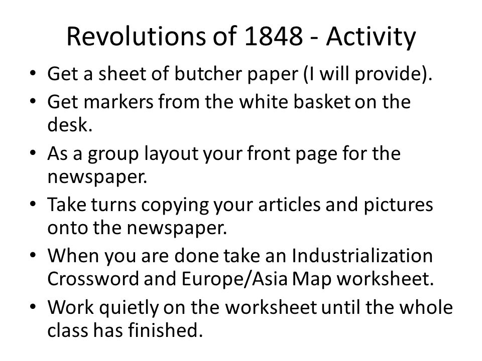 Write a 2 Page Essay on the 1848 Revolutions?