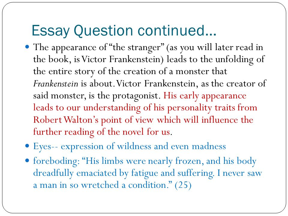 frankenstein essay questions
