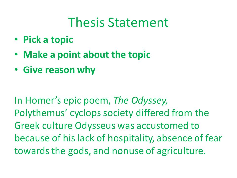 homers odyssey thesis statement Download thesis statement on the odyssey by homer in our database or order an original thesis paper that will be written by one of our staff writers and delivered according to the deadline.
