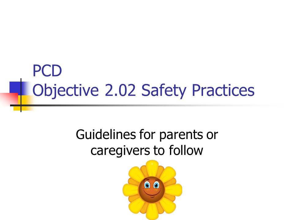 PCD Objective 2.02 Safety Practices Guidelines for parents or caregivers to follow