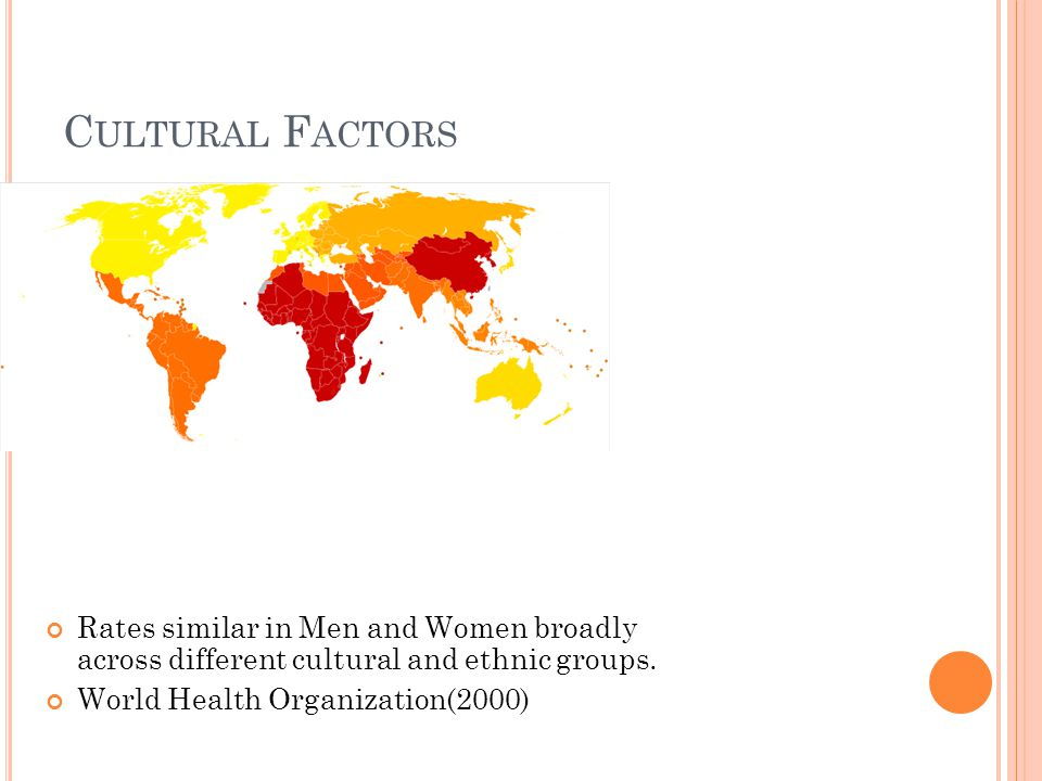 C ULTURAL F ACTORS Rates similar in Men and Women broadly across different cultural and ethnic groups.