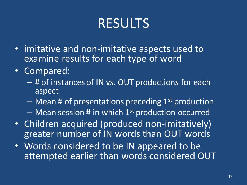 RESULTS imitative and non-imitative aspects used to examine results for each type of word Compared: – # of instances of IN vs.