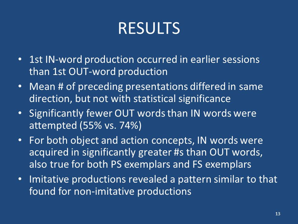 RESULTS 1st IN-word production occurred in earlier sessions than 1st OUT-word production Mean # of preceding presentations differed in same direction, but not with statistical significance Significantly fewer OUT words than IN words were attempted (55% vs.