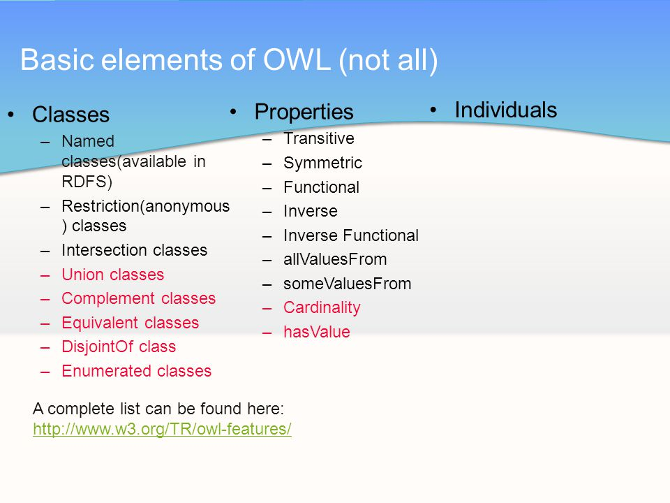 Classes –Named classes(available in RDFS) –Restriction(anonymous ) classes –Intersection classes –Union classes –Complement classes –Equivalent classes –DisjointOf class –Enumerated classes Basic elements of OWL (not all) Properties –Transitive –Symmetric –Functional –Inverse –Inverse Functional –allValuesFrom –someValuesFrom –Cardinality –hasValue Individuals A complete list can be found here: